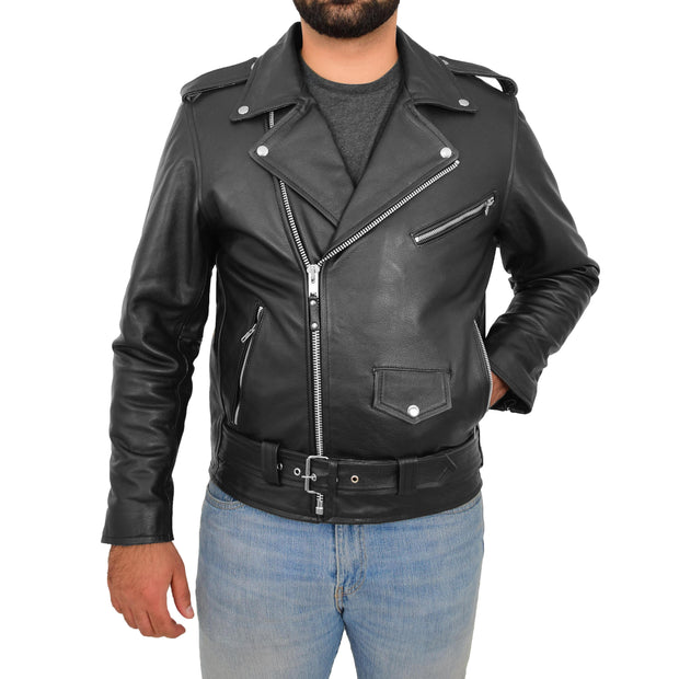 Genuine Cowhide Biker Leather Jacket For Men Casual Brando Coat Rock Black Front