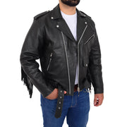 Mens Black Cowhide Biker Jacket With Leather Fringes Belt Tasselled Coat Bill Open 1