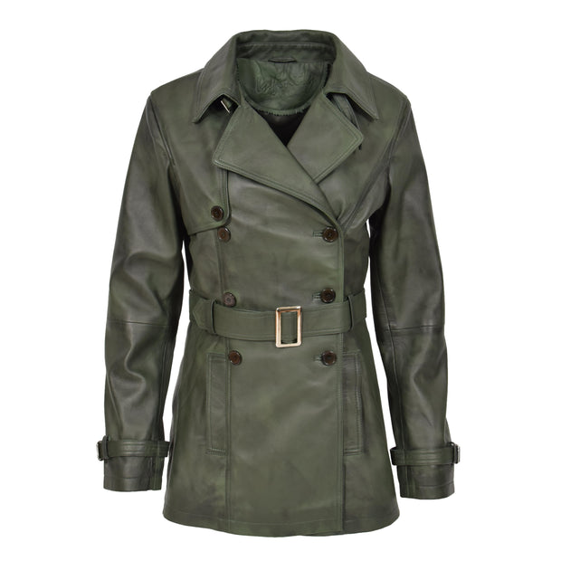 Womens Soft Leather Trench Coat Olivia Green