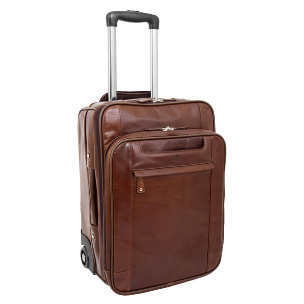 Luxurious Brown Leather Cabin Size Suitcase Hand Luggage Beverley Hills