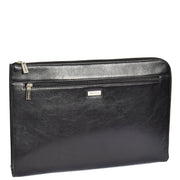 Real Leather Zip Around Folio Underarm iPad Tablet Bag Black A28