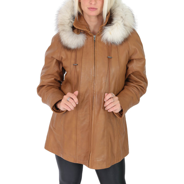 Womens Zip up Detachable Hood Parka Duffle Leather Coat Isabella Tan