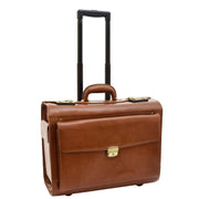 Exclusive Real Cognac Leather Pilot Case Wheeled Cabin Bag Briefcase London Front 3
