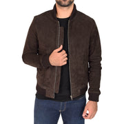 Mens Soft Goat Suede Bomber Varsity Baseball Jacket Blur Brown Open