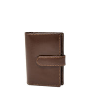 Real Leather Compact Credit Card Wallet AV84 Brown