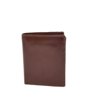 Gents Real Leather Bifold Large Wallet Cards Notes Coins Purse AVZ3 Brown Front