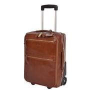 Exclusive Leather Trolley Hand Luggage Cabin Suitcase Concorde Chestnut