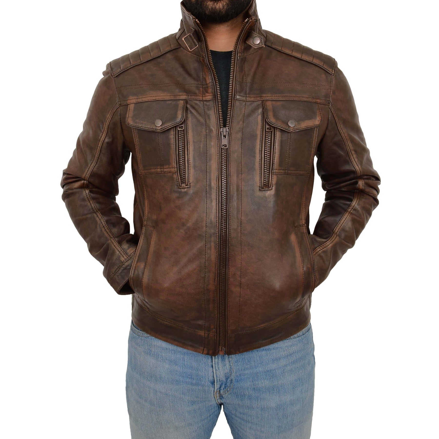 LEATHER VINTAGE BROWN RUB OFF ANTIQUE JACKET ARON