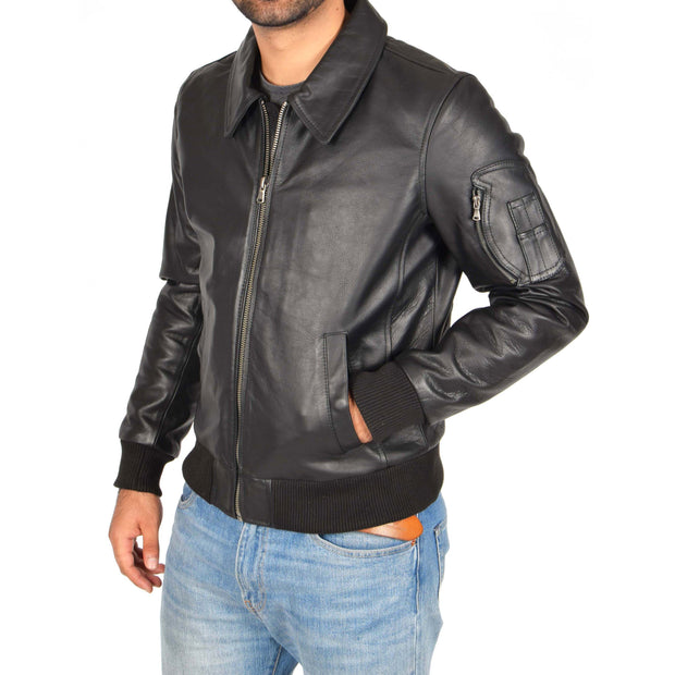 Mens Real Cowhide Bomber Leather Jacket Pilot Jacket Lance Black