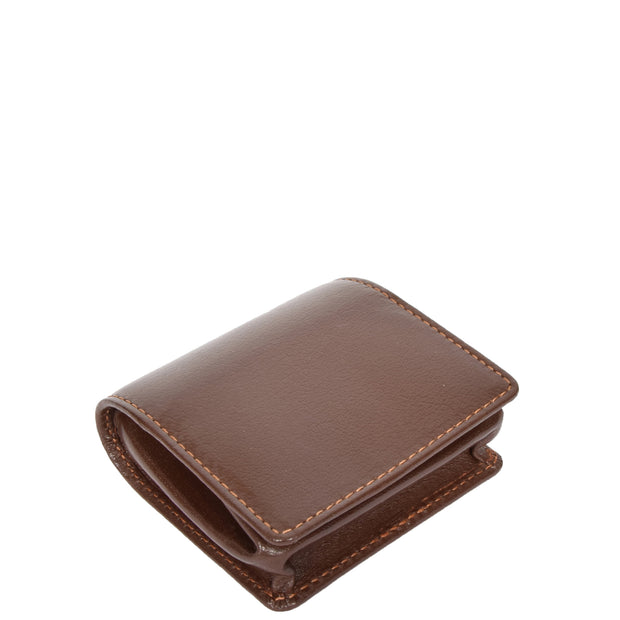 Genuine Leather Coin Tray Wallet Change Case Purse Philip Brown