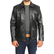 Mens Classic Zip Fasten Box Leather Jacket Tony Black main view