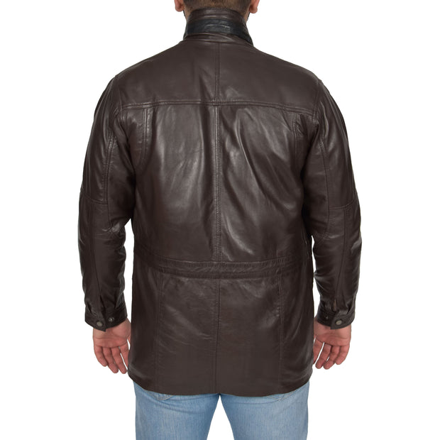 Gents Classic Soft Leather Parka Car Coat Parker Brown Back