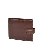 Mens Genuine Italian Leather Snap Closure Wallet AVZ5 Brown Front