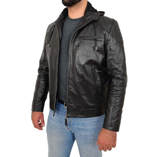 Mens Real Black Leather Hooded Jacket Sports Fitted Biker Style Coat Barry Open Side 1