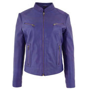 Womens Fitted Leather Biker Jacket Casual Zip Up Coat Jenny Purple 3