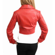 Womens Fitted Cropped Bustier Style Leather Jacket Amanda Red Back
