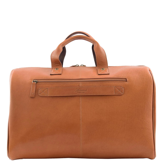 Genuine Leather Holdall Weekend Gym Business Travel Duffle Bag Ohio Tan Back