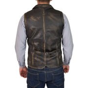 Mens Genuine Soft Leather Waistcoat Western Vest Yelek Rhys Rub Off Back