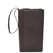 Real Leather Travel Wallet Passport Boarding Pass Clutch Purse AL93 Brown Front