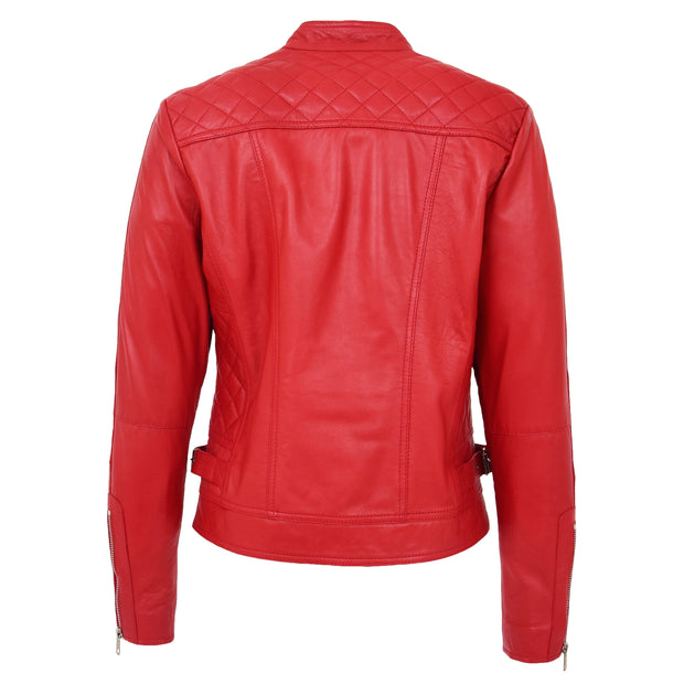 Womens Soft Red Leather Biker Jacket Designer Stylish Fitted Quilted Celeste Back