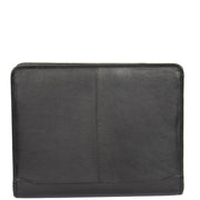 Zip Around Folio Leather Folder A4 Binder Organiser Underarm Bag A1 Black Front
