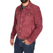 Mens Real Soft Goat Suede Trucker Denim Style Jacket Chuck Burgundy Front 1