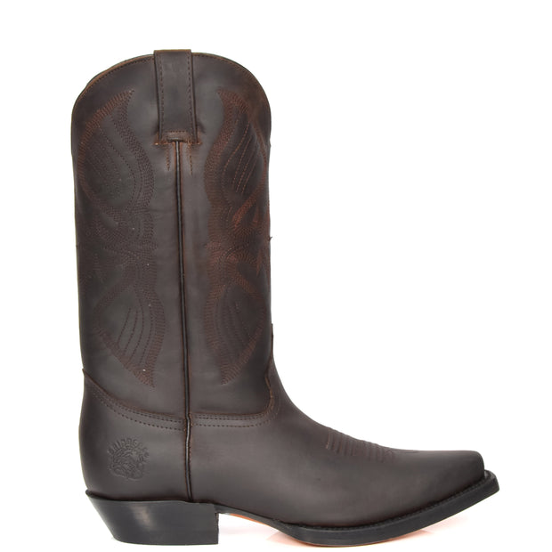 Real Leather Pointed Toe Cowboy Boots ALBH57 Brown Side 1