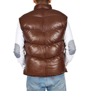 Mens Quilted Leather Waistcoat Body Warmer Gilet Jeff Brown Back