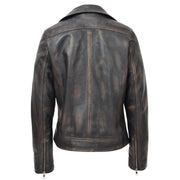 Womens Fitted Real Vintage Rub Off Leather Designer Biker Jacket Myla Back