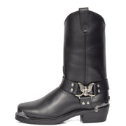 Real Leather Square Toe Eagle Design Biker Boots AEB77H Black Side 1