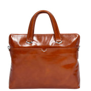 Italian Leather Tan Briefcase Messenger Business Bag Denver Front