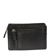 Real Leather Wrist Bag Clutch Travel Organiser Black A210 Front