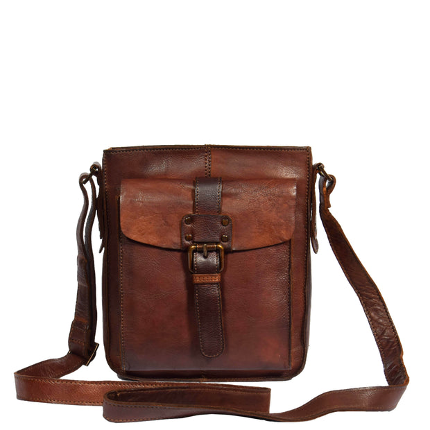 Real Leather Unisex Shoulder Flight Bag Trump Rust With Belt