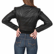 Womens Fitted Cropped Bustier Style Leather Jacket Amanda Black Back