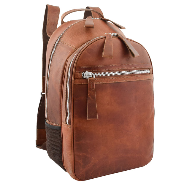 High Quality Genuine Tan Leather Backpack Large Size Work Casual Travel Bag Trek