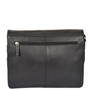 Womens BLACK Leather Messenger Cross body Shoulder Bag A53 Back