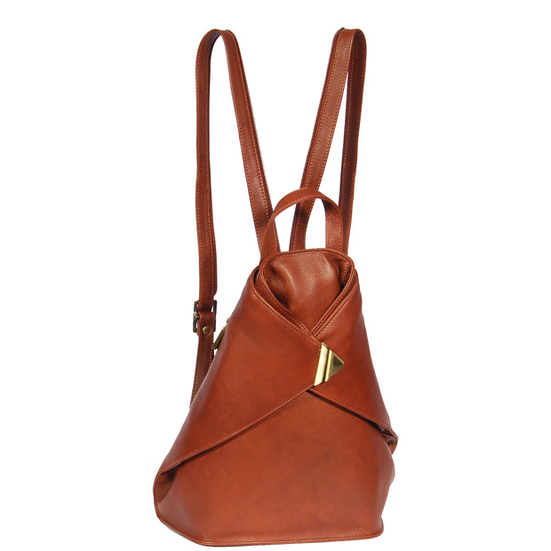 Womens Luxury Leather Backpack Hiking Rucksack Organiser Bag A58 Brown Front