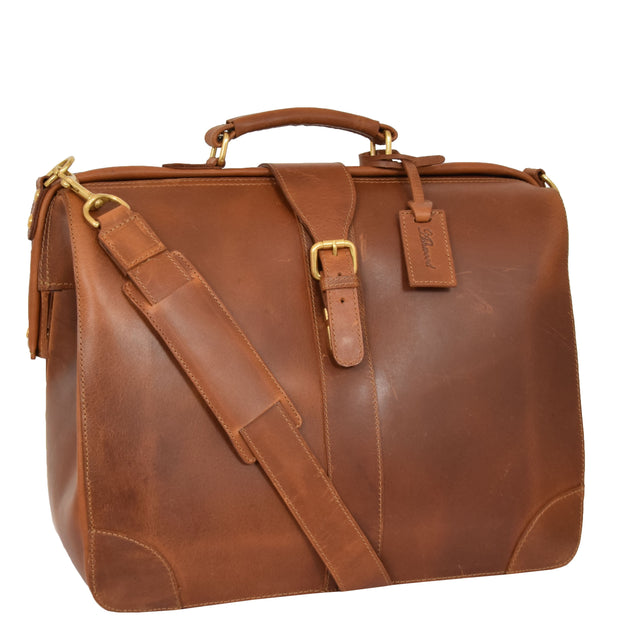 Genuine Leather Doctors Briefcase Gladstone Bag Duke Tan