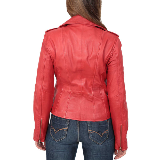 Womens Trendy Biker Leather Jacket Beyonce Red Back