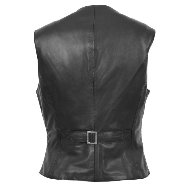 Womens Soft Leather Waistcoat Slim Fit Vest Classic Gilet Katy Black Back