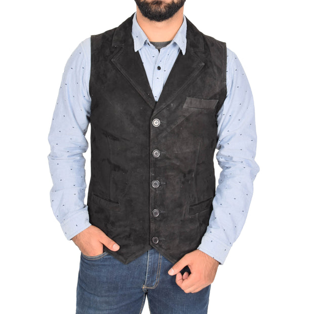 Mens Real Suede Leather Waistcoat Classic Vest Yelek Status Black Front 1