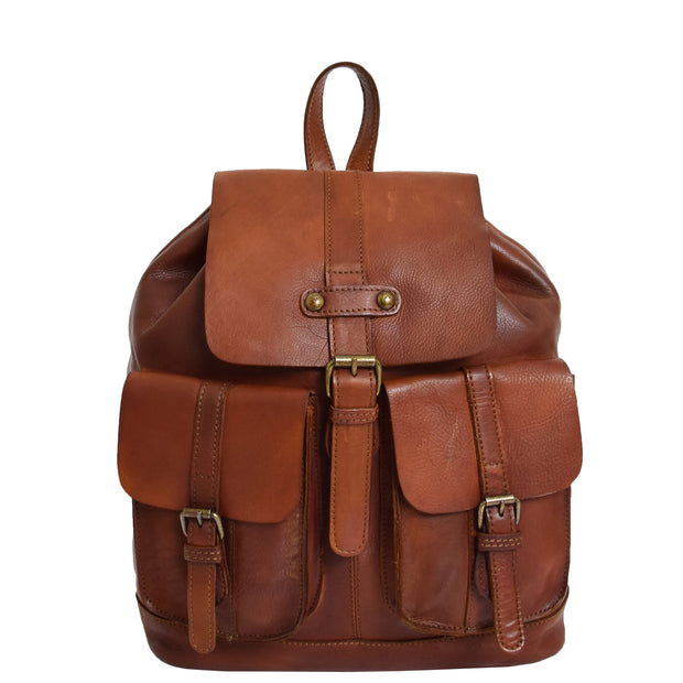 Genuine Vintage Rust Leather Backpack Large Organiser Rucksack AB99