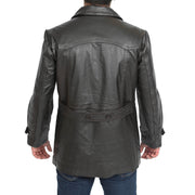 Mens Trench Leather Fitted Reefer Military Overcoat Ernest Brown Back