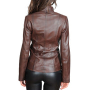 Womens Classic Fitted Biker Real Leather Jacket Nicole Brown Back