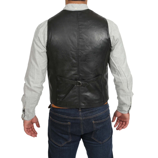 Mens Soft Leather Waistcoat Classic Gilet Bruno Black back view