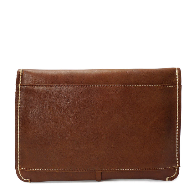 Real Leather Wrist Clutch Bag A5 Size Underarm Folio Case Nixes Tan Back