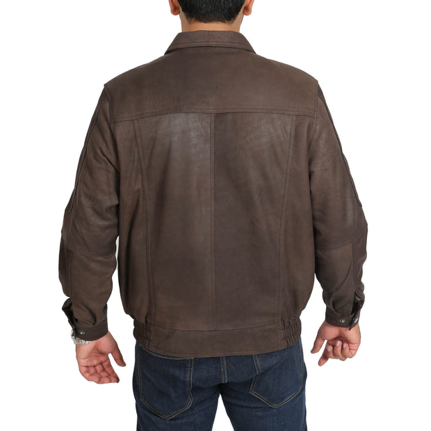 Gents Blouson Brown Leather Jacket Keith Nubuck back view