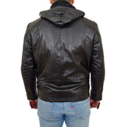 Mens Real Black Leather Hooded Jacket Sports Fitted Biker Style Coat Barry Back