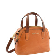 Womens Cognac Leather Tote Handbag Zip Top Smart Designer Bag Lisa