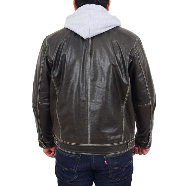 Mens Real Cowhide Grey Jacket Biker Trucker Vintage Style Hoodie Jason Back With Hood